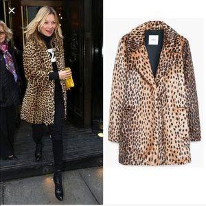MNG Furry leopard print jacket coat
